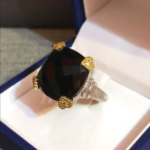 Judith Ripka black onyx & diamonds, 18k/925 Ring